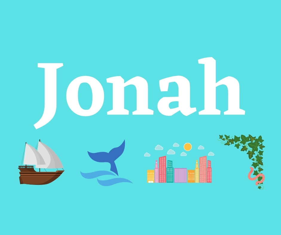 The book of Jonah title image with a ship, a fish, a city, and a worm